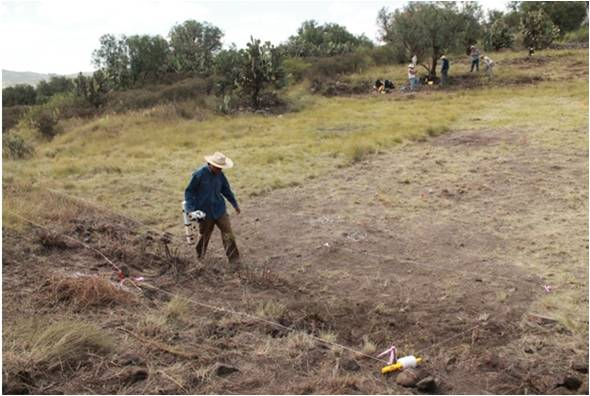 . Topographer performing a magnetic survey of grids in Teotihuacan. Photo courtesy of geophysical survey team, 2015, by Dr. Luis Barba et al.