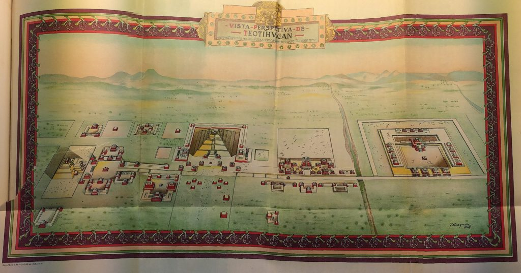 Rendition of the ceremonial site of Teotihuacan in his last period, by Arq. Marquina (Gamio, 1922)